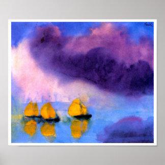 Pôster Emil Nolde - mar com nuvens e os veleiros violetas