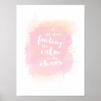Poster Encontrar bonito calmo na caligrafia da aguarela