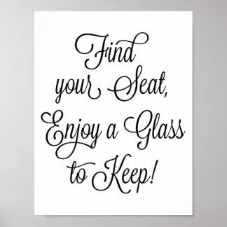 Poster Encontre seu Seat para apreciar um vidro para