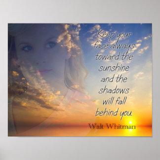 Pôster Enfrente a luz do sol -- Citações de Walt Whitman