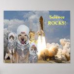 Poster engraçado da ciência dos astronautas do cão