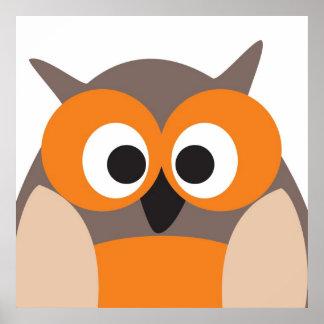 Poster engraçado da coruja dos desenhos animados o