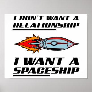 Poster engraçado da nave espacial da relação