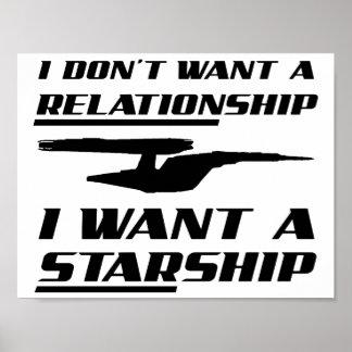 Poster engraçado de Starship da relação