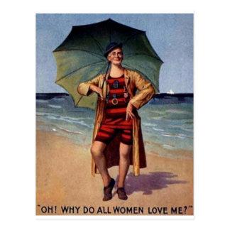poster engraçado do guarda-chuva do fato de banho cartão postal