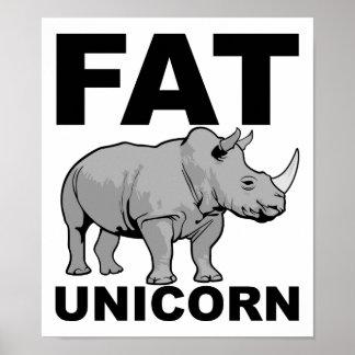 Poster engraçado do rinoceronte gordo do unicórnio