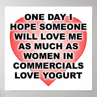 Poster engraçado do Yogurt do amor das mulheres Pôster