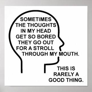 Poster engraçado furado dos pensamentos