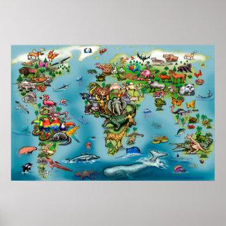 Poster ENORME do mapa do mundo dos animais