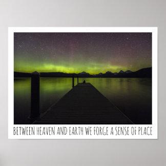 Poster Entre o céu e a Aurora Borealis da terra