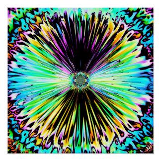 Pôster Esboço psicadélico colorido de uma flor 3