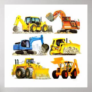 Pôster Escavador e máquina escavadora maciços da