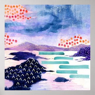 Poster escocês colorido do Watercolour do Loch do
