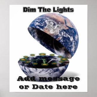 Pôster Escureça as luzes para a hora da terra (a terra