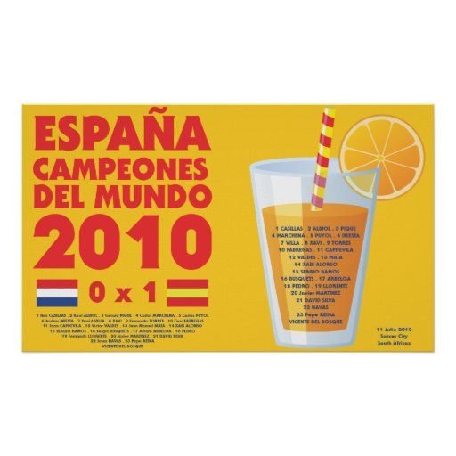 Poster España 2010 World Champions Futbol
