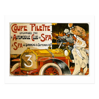 Poster espanhol do automóvel do vintage de Pilette Cartões Postais
