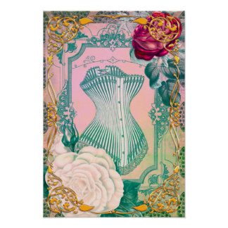 Poster Espartilho do Victorian do vintage e rosa e azul