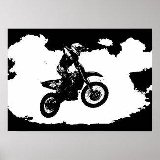 Pôster Esporte branco preto de Motorcyle do motocross do