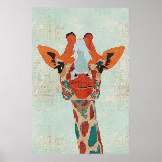 Poster espreitando ambarino da arte do girafa