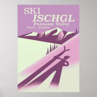 Pôster Esqui Ischgl, vale Tirol de Paznaun