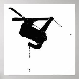Poster Esquiador preto & branco