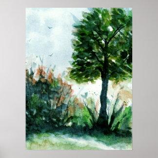 Pôster Estações da natureza da árvore da arte da paisagem