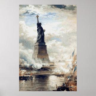 Pôster Estátua da liberdade que revela 1886