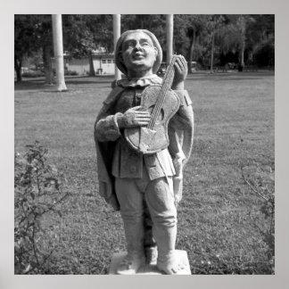 Pôster Estátua preto e branco do músico da foto