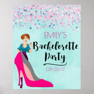 Pôster Estilete do rosa quente & party girl Bachelorette