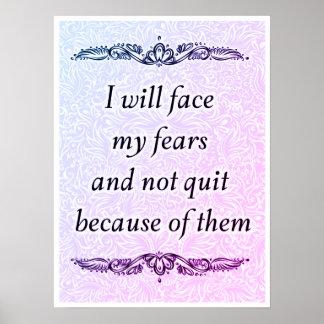 Poster Eu enfrentarei meus medos - Quote´s positivo