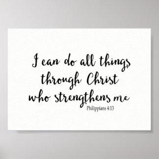 Pôster Eu posso fazer todas as coisas com o cristo que