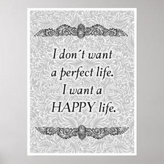 Poster Eu quero uma vida feliz - Quote´s positivo