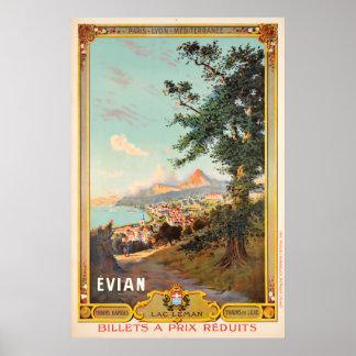 Pôster Evian, laca Léman, Paris - Lyon - Méditerrannée