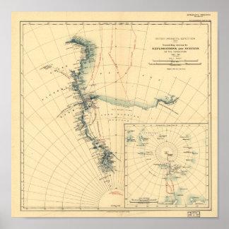 Poster Expedição antárctica e mapa antigo 1909 das