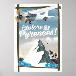 Pôster Explore as montanhas do europeu de Pyrenees
