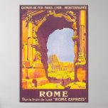 Poster expresso das viagens vintage de Roma