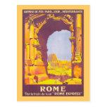 Poster expresso das viagens vintage de Roma Cartão Postal