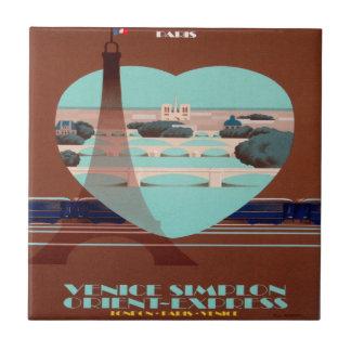 Poster expresso de oriente Paris Azulejo Quadrado Pequeno