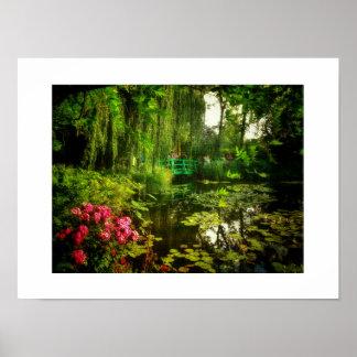 Poster famoso da lagoa dos lírios de Claude Monet