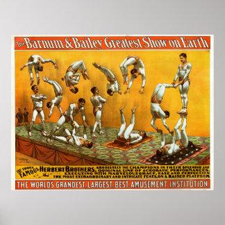 Poster famoso do circo de três irmãos de Herbert