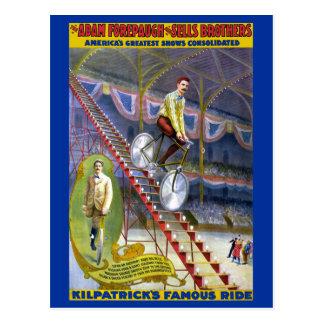 Poster famoso do circo do vintage do passeio de cartão postal