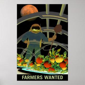 Pôster Fazendeiros queridos para a sobrevivência em Marte