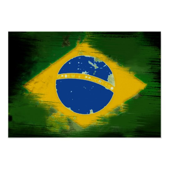 Poster Federative Republic of Brazil flag