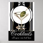 Poster feito sob encomenda dos cocktail do art dec