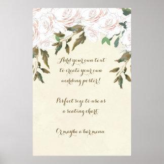 poster feito sob encomenda floral do casamento do