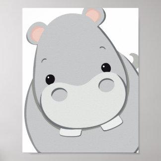 Poster feliz da arte do berçário do hipopótamo,
