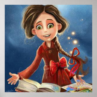 poster feliz do retrato da menina do sorriso