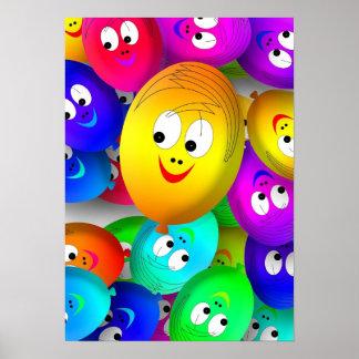 Poster feliz dos balões das caras