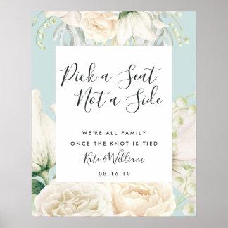 Poster floral branco do assento da cerimónia de