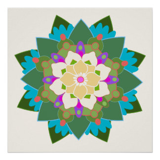 Poster floral colorido da mandala da flor de Lotus Pôster
